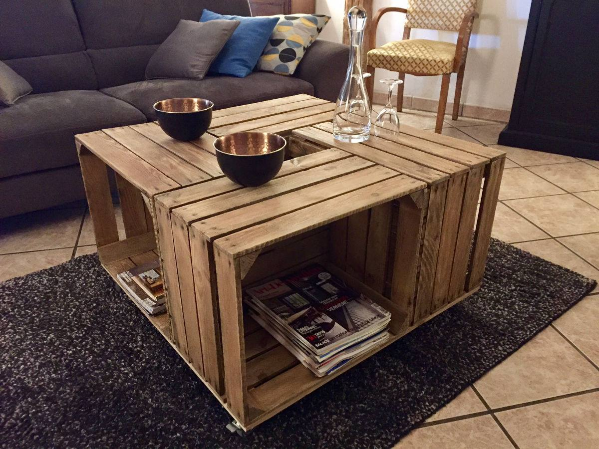 Des tables basses base de caisses pommes blog - Table basse de la maison ...