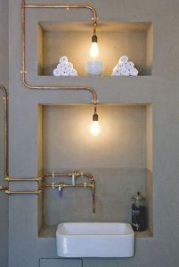 décoration cuivre canalisation lumière