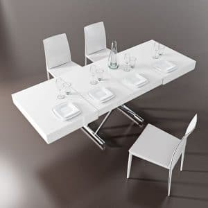 table relevable extensible blanc