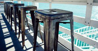 tabouret acier plage vintage